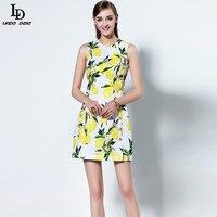 High Quality New Fashion 2016 Casual Women Summer Dress Runway Brand Sleeveless Slim Lemon Print Above