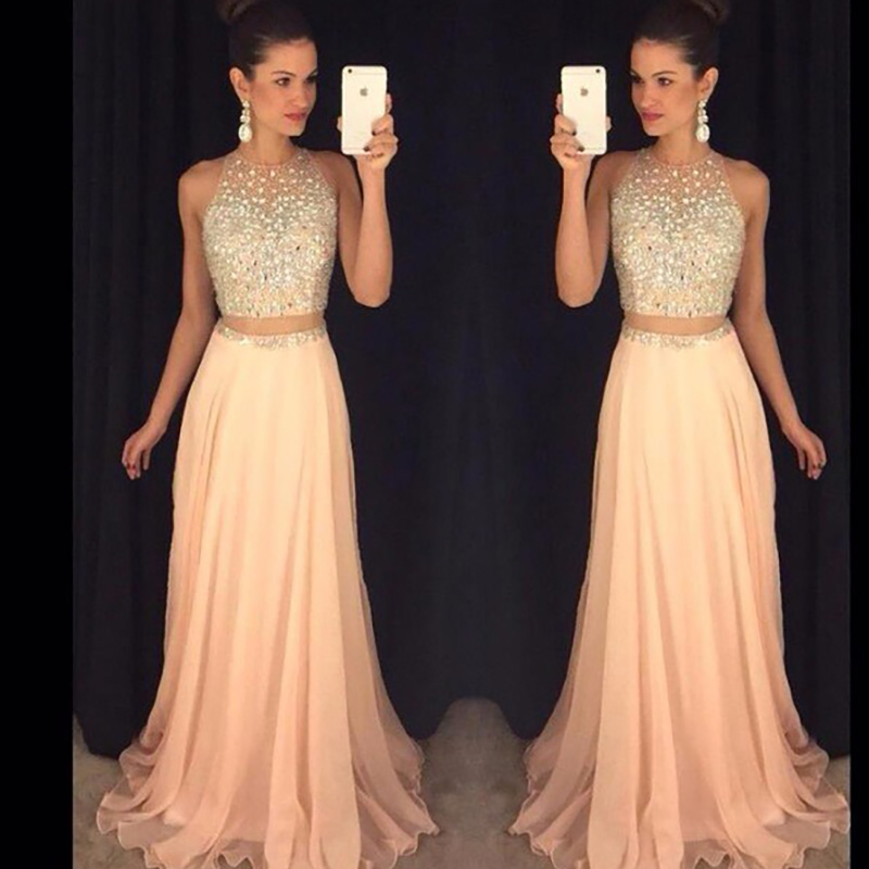 Beading long woman prom dress sequins A Line Two Pieces Prom Dress 2019 Chiffon Evening Gowns