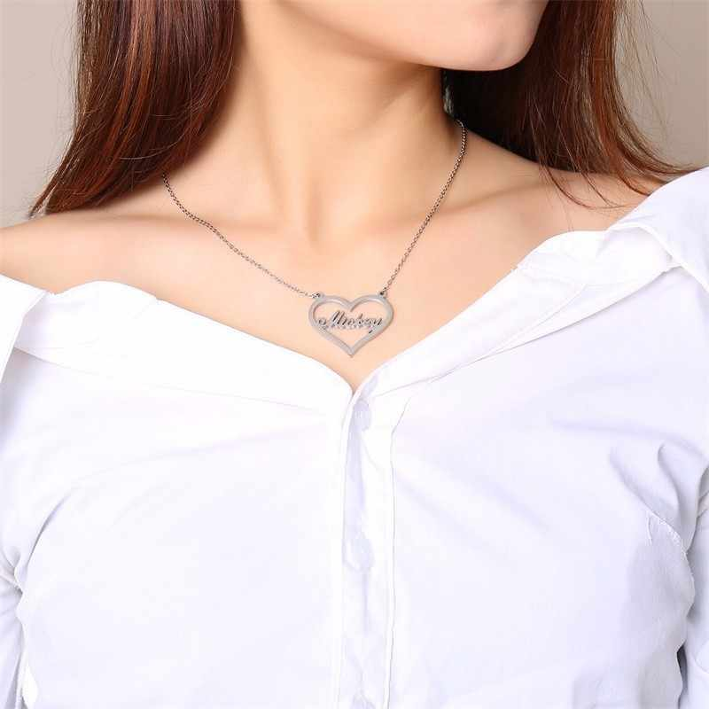 Vnox Personalized Name Necklaces Solid Stainless Steel Chokers for Women Fashion Pendant Custom Special Unique Gift for Her