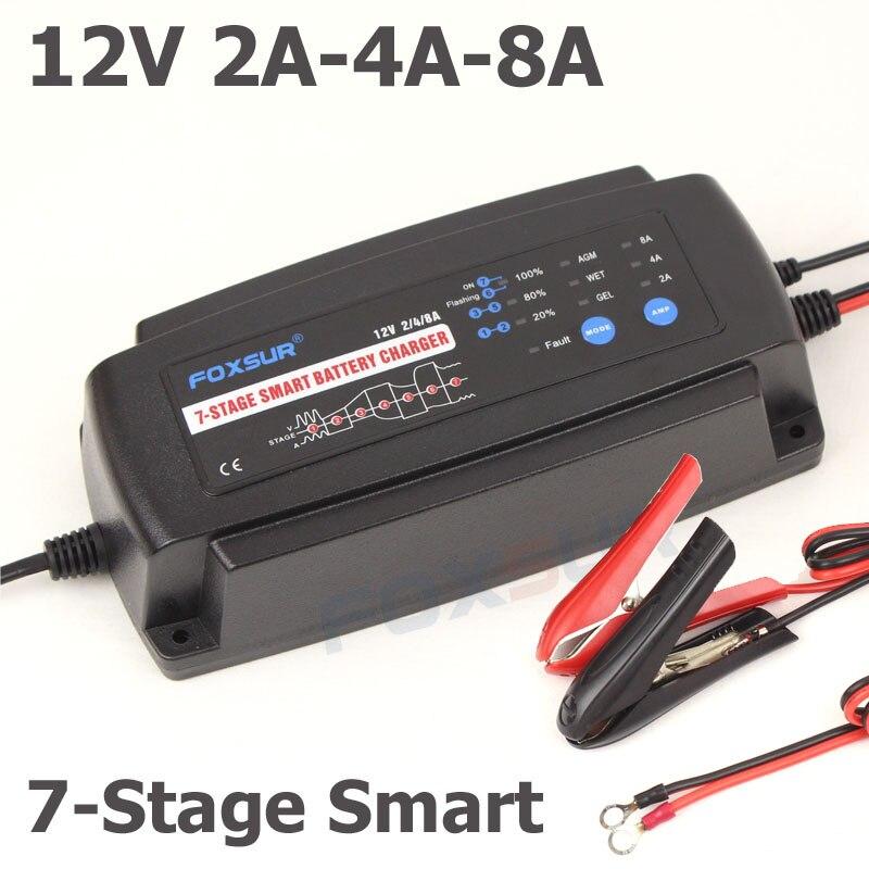 FOXSUR 12 V 2A 4A 8A 7 etapas cargador de batería inteligente, GEL húmedo AGM batería tipo y corriente de carga seleccionable, cargador de batería de coche
