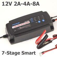 Foxsur 12 v 2a 4a 8a carregador de bateria inteligente de 7 fases, gel molhado agm tipo de bateria & corrente de carga selecionável, carregador de bateria de carro