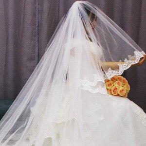 Image 5 - Velo de novia de 2 capas de largo 3 M de alta calidad, 3 metros, 2T, cubierta de encaje de lentejuelas, cara blanca, velo de novia, color marfil, accesorios de novia