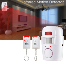 Free shopping alarm Home System 2 Remote Control Wireless IR Infrared Motion Sensor Alarm Security PIR  Detector Hot Selling