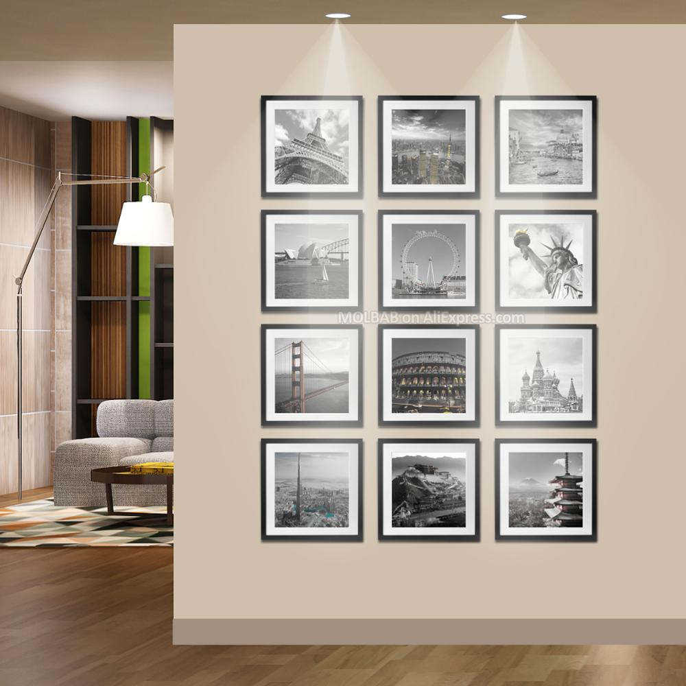 MOLBAB Wood Square Photo Frame Wall 12PCS Set Modern Wooden Picture ...