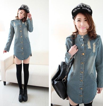58f2f64cd9 Casual denim shirt dress 2015 hot fashion women s stand collar plus size  long-sleeve one piece dresses long design jean blouse