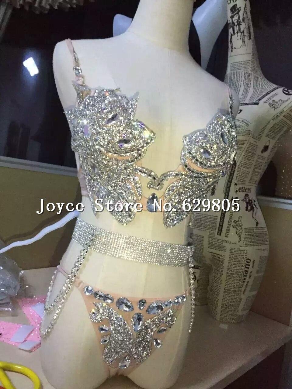 Silver Bright Sexy Bra Low Waist Short Underwear Sequins Dance Wear Two Piece Set Women's Party Dress Female Singer Costume