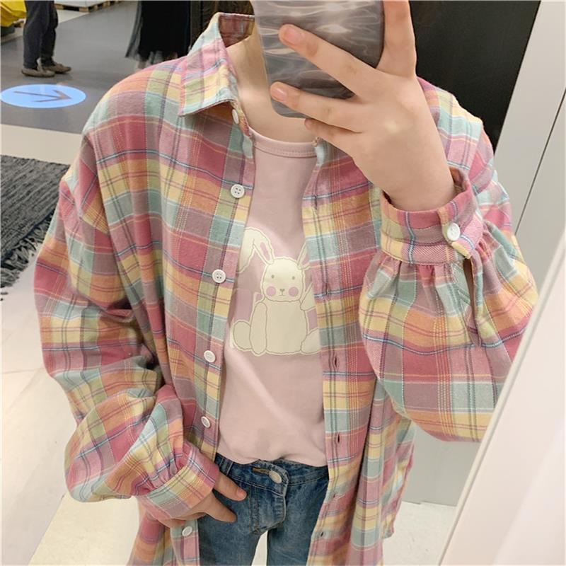 Loose Lantern Sleeve Rainbow Plaid Shirt Women's Summer Shirts Kawaii Ulzzang Lovely Female Sweet Harajuku Cute Top For Women