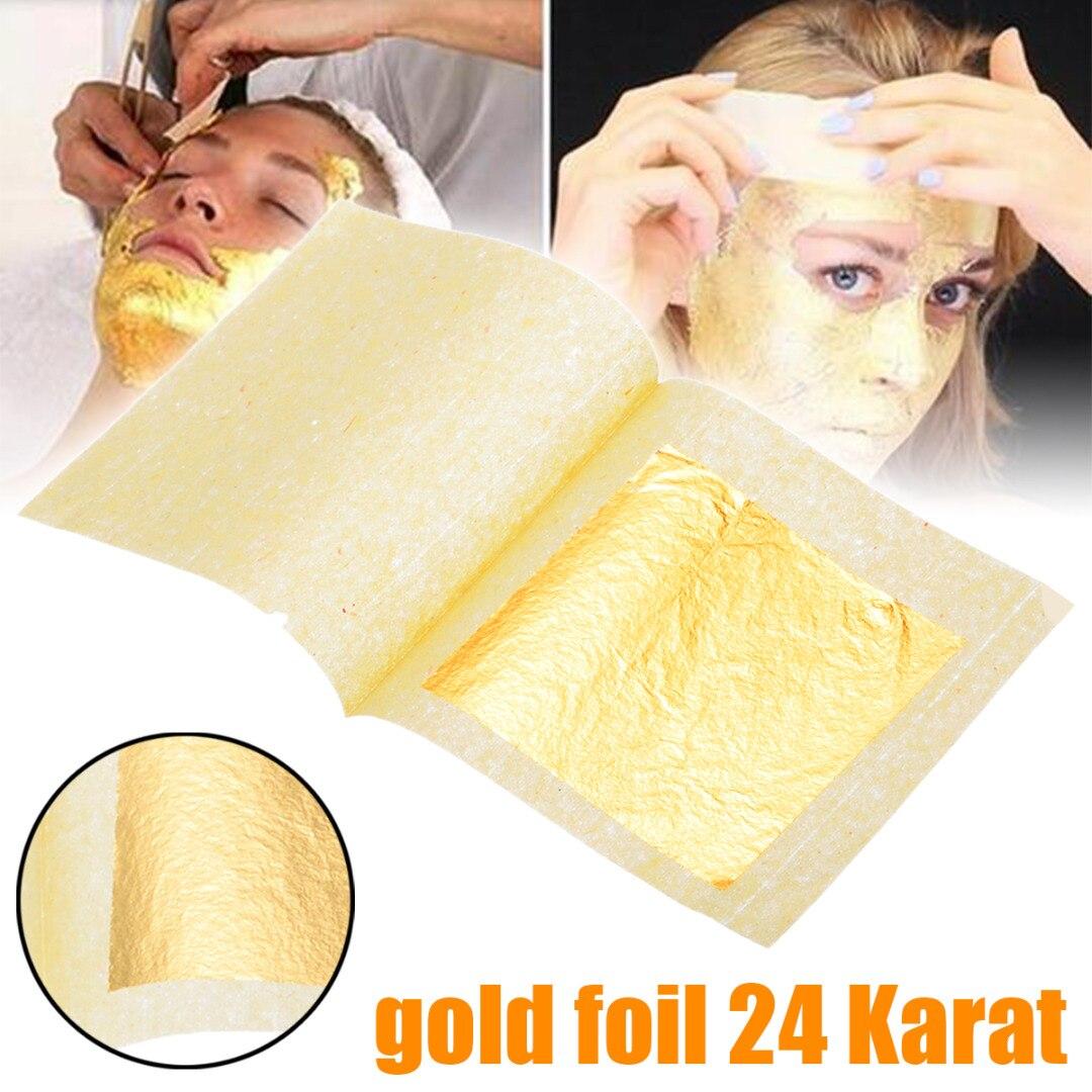 5/10/50/100PCS 24K Pure Edible Gold Leaf Foil Sheet Decor Foil Golden Cover Gilding Handicrafts Face Beauty Mask 4.33cm