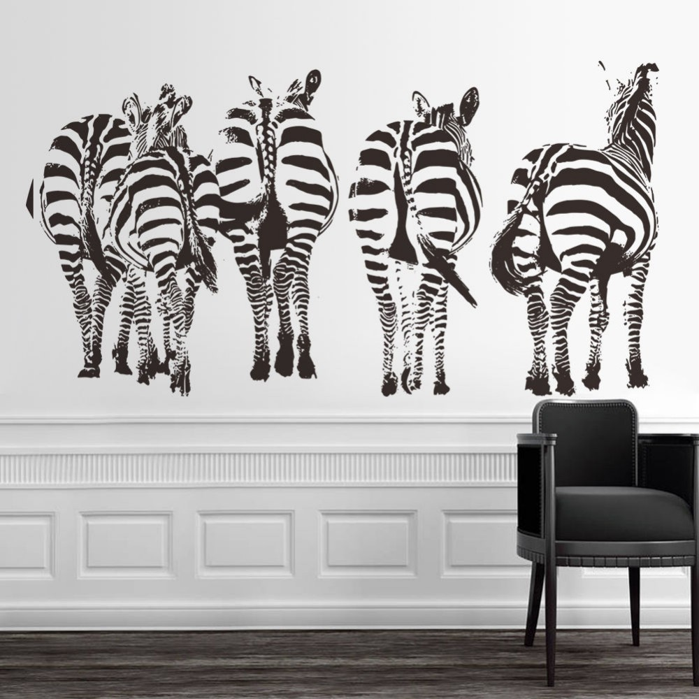 compare prices on zebra wall murals online shoppingbuy low price  -  new huge zebra vinyl wall decal sticker mural art home mural forliving room decor