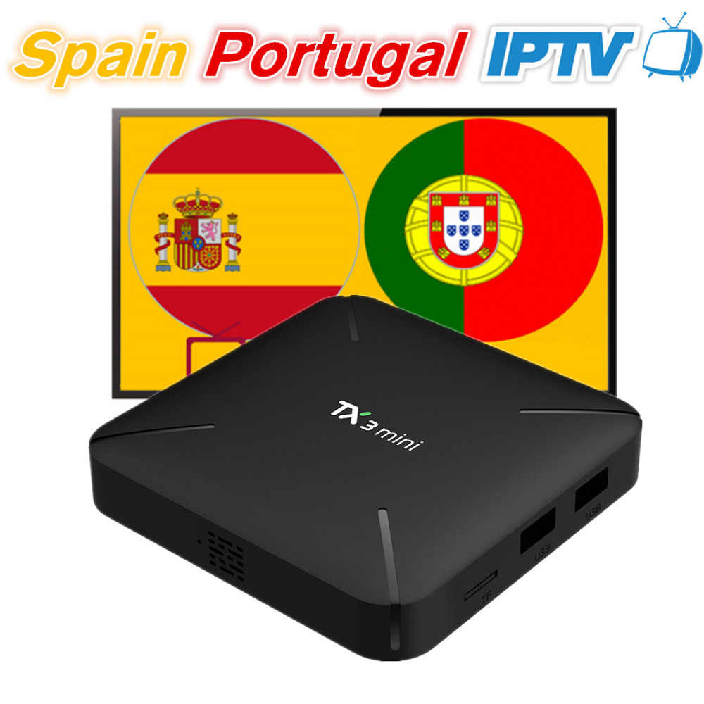TX3mini Android 7,1 Smart tv Box с 12 месяцев испанско-португальский IP tv подписка 200 испанский 140 Португалия Eleven Sport 100 взрослый