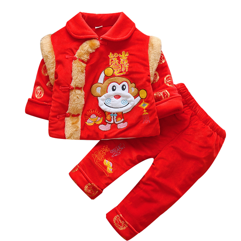 Happy Island Cotton Thickened Chinese Spring Festival Costumes for Infant Long Sleeve Mandarin Collar Cotton Monkey Baby Clothes tales of monkey island глава 5 явление пиратского бога