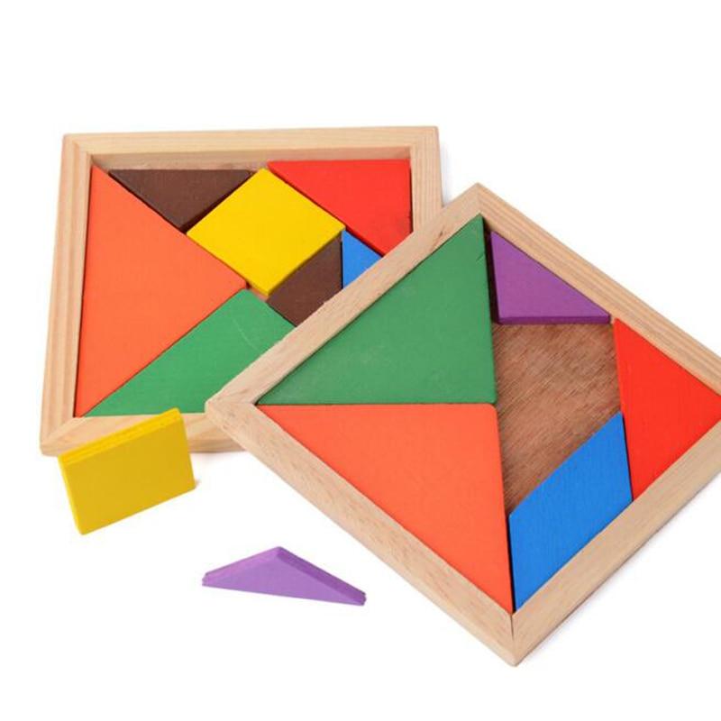 Высокое качество Дети Образование Логические игрушки деревянные головоломки игрушки Геометрические классический пазл Цвет головоломки