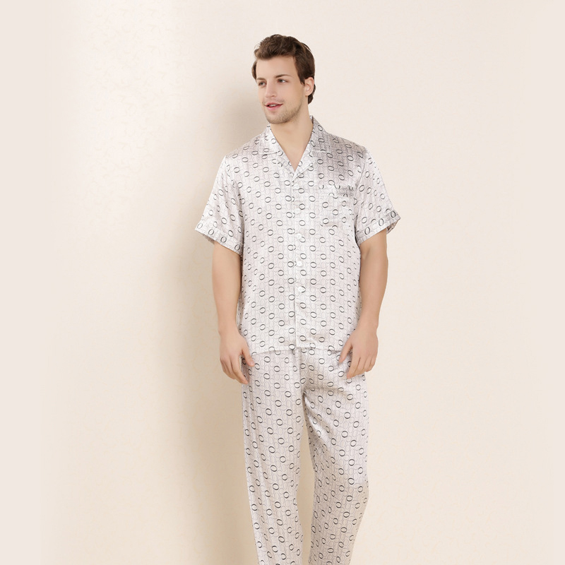 CEARPION Summer Male Pajams Set 2pcs Shirt+pants Sleepwear Silk Short Sleeve Pajamas Suit Elegant Men Casual Home Night Wear