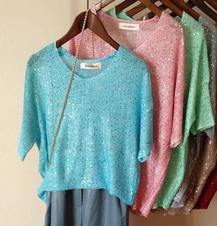 1803158942d Cakucool Women Summer Knit T-shirt Short Sleeve V-neck Tees Sequined Shiny  Casual