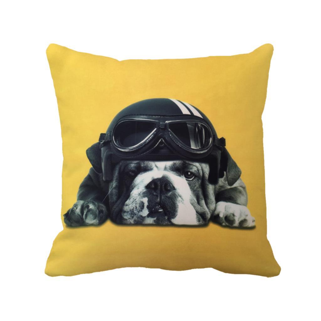pitbull wear helmet printed customized throw pillowcase cute dog ...