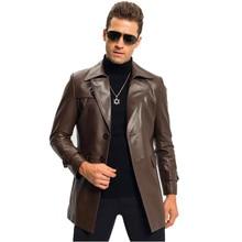 Leather Jacket menfolk Business Negotiation Long Lapel Trench Coat  Men's 100% Genuine  Man Leather Sheepskin Outerwear   TJ8101