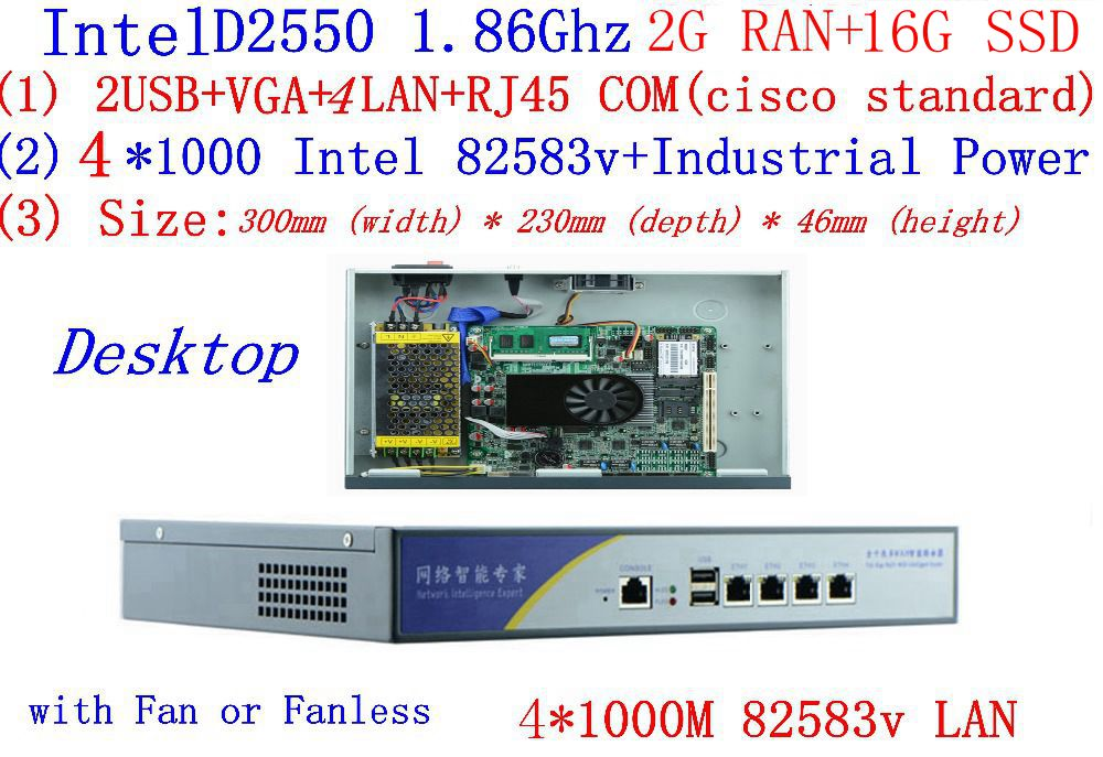 With 2G RAM 16G SSD Firewall Server Atom D2550 1.86G 4*intel PCI-E 1000M 82583v Lan Support Panabit Wayos ROS Mikrotik PFSense