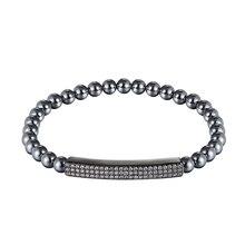 JAAFAR модный бренд, высокое качество тепловая трубка мужской браслет, циркон 6 мм камень бусины браслет ювелирные изделия для мужчин или женщин