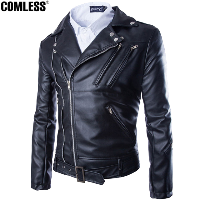 2016 New Arrival Mens Multi Zipper Faux Leather Jackets Solid Black M-2XL Locomotive Style Men's Slim Fit PU Leather Coats