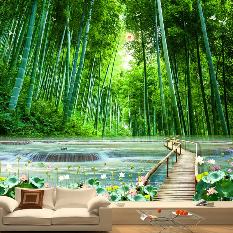 Custom 3D Photo Wallpaper Bamboo Forest Wooden Bridge Natural Scenery Large Mural Living Room Background Decor Art Wall Painting