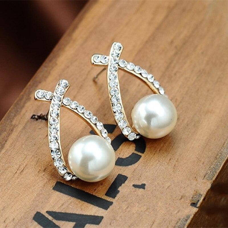 Bijoux fantaisie simulé perle boucles d'oreilles goutte mignon nœud papillon boucles d'oreilles pour les femmes brillant cristal bijoux de mariage élégant 5