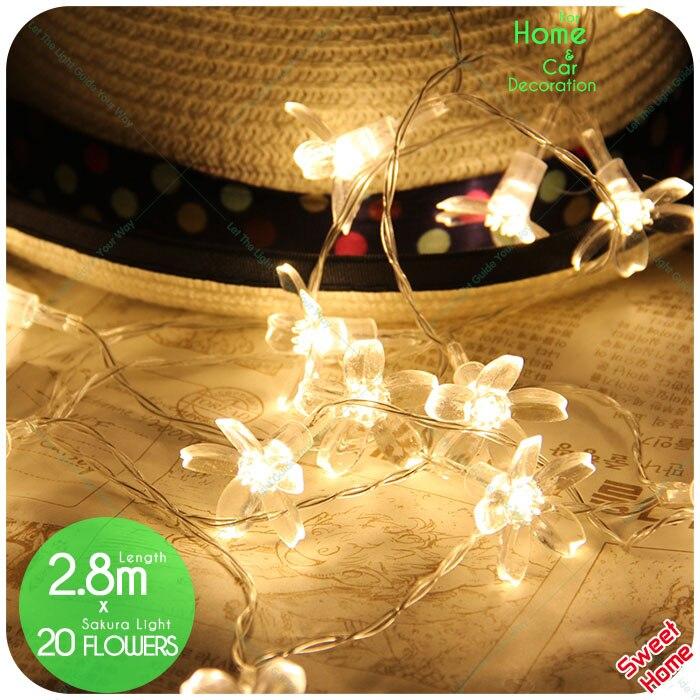 20 Bulbs Warm White Cherry Blossom Fairy String Lights For Christmas Xmas Tree Lights Wedding Garden Indoor Holiday Decoration
