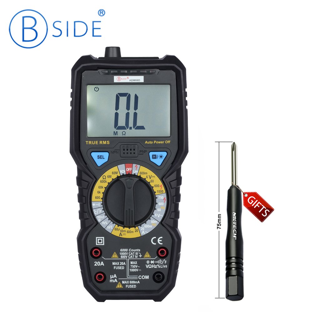 Hot BSIDE ADM08A True RMS Value Digital Multimeter Temperature Capacitance Frequency Test Really Effective Ranging Value Test  цены