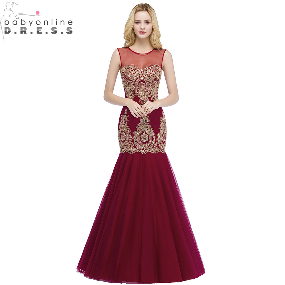 Robe de Soiree Longue Sexy Transparent Burgundy Mermaid Lace Long Evening Dress Elegant Tulle Evening Gown