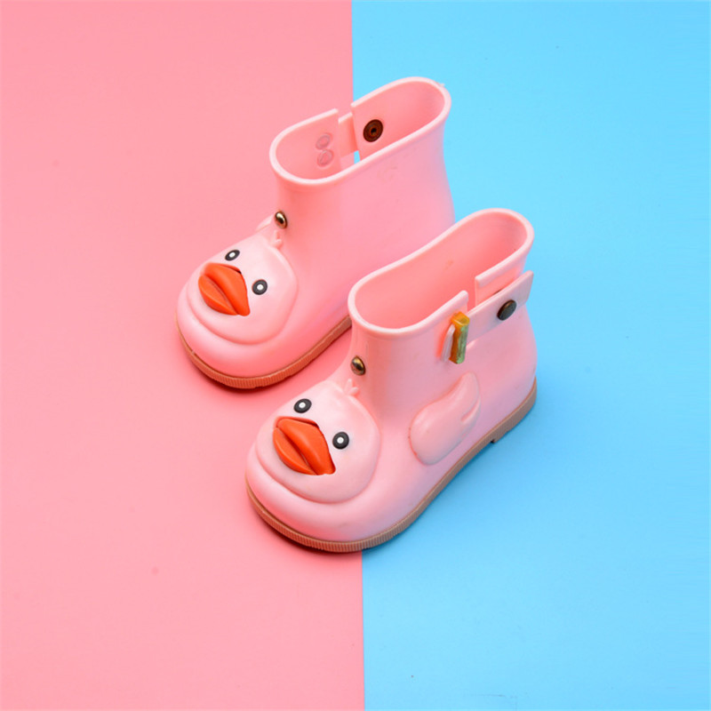 Mini Melissa Kids Cute Duck Rain Boots Boys&Girls Cartoon Rubber Boots Jelly Shoes Childrens Waterproof Shoe Candy Color