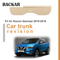 Backar 1set For Nissan Qashqai 2015 2016 2017 2018 Car Rear Trunk Cargo Cover Styling Black Security Shield Shade Accessories