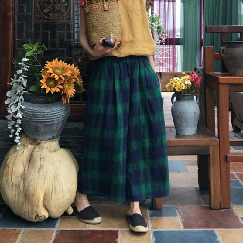 Johnature New Vintage Plaid Elastic High Waist   Pants   Summer Loose Pockets 2018 Women Cotton Linen Calf-Length   Wide     Leg     Pants