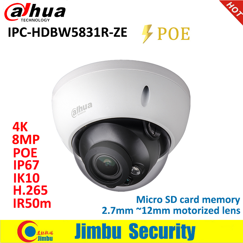 Dahua IP Camera 8MP IPC HDBW5831R ZE WDR IR50M IP67 IK10 PoE H 265 H 264