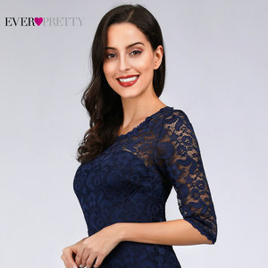 Image 4 - Navy Blue Lace Cocktail Dresses Ever Pretty EZ07665NB See Through Half Sleeves Knee Length vestidos mujer 2020 cocktail Elegant