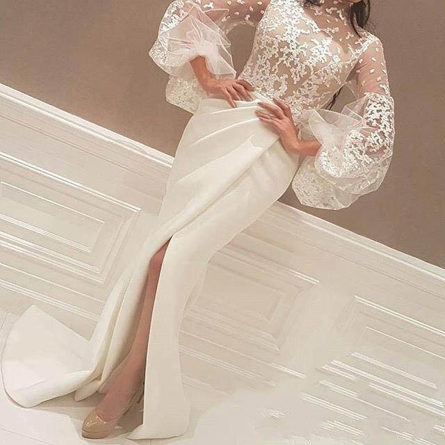 Vintage High Neck Elfenbein Abendkleid frontseiten schlitz Saudi ...