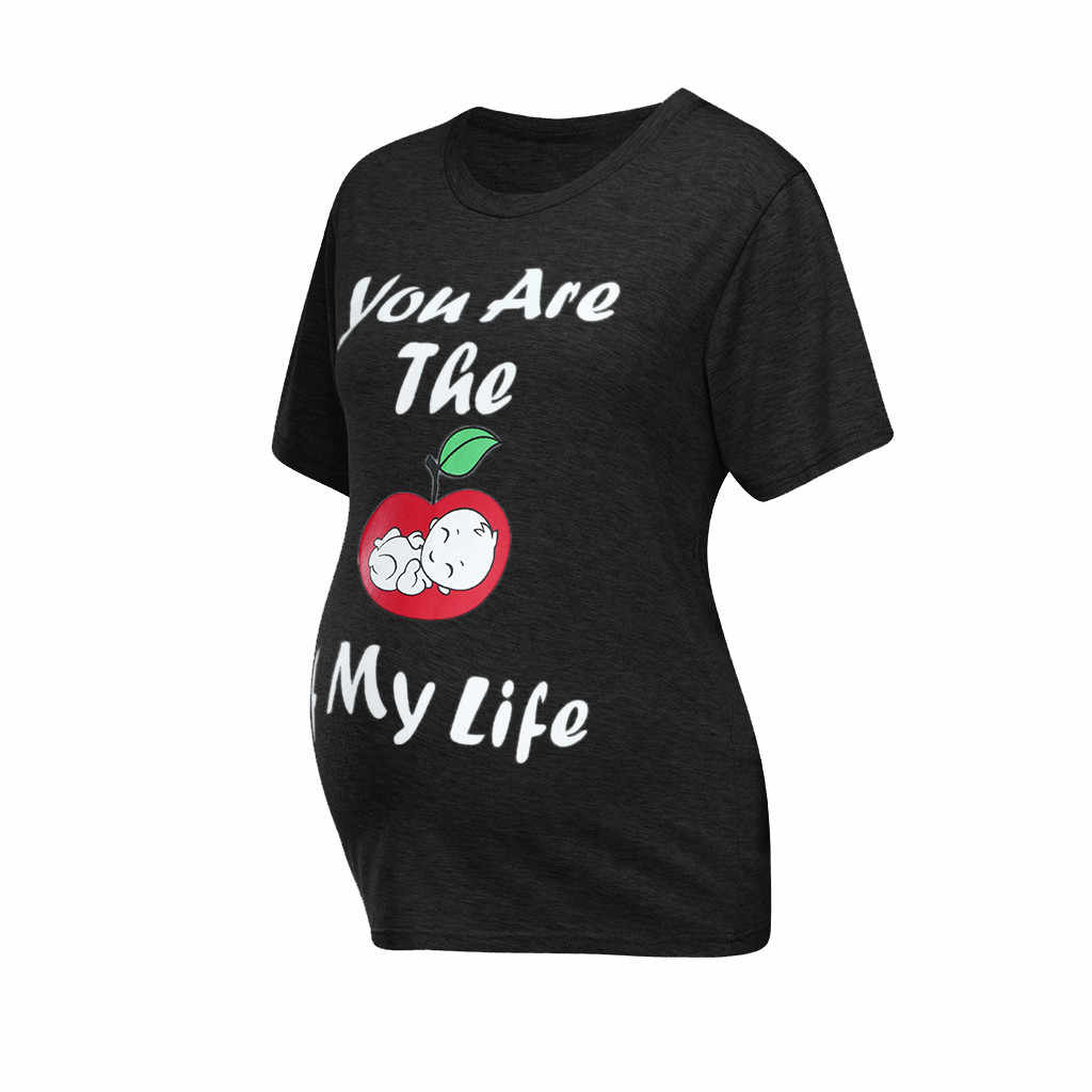 Camiseta de maternidad de algodón de ARLONEET de manga corta vestido de maternidad embarazada estampado sólido de dibujos animados camisetas de embarazo camiseta 2019