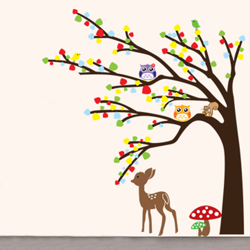 Cartoon cute animal deer owl tree mushroom diy wall for Mural vector