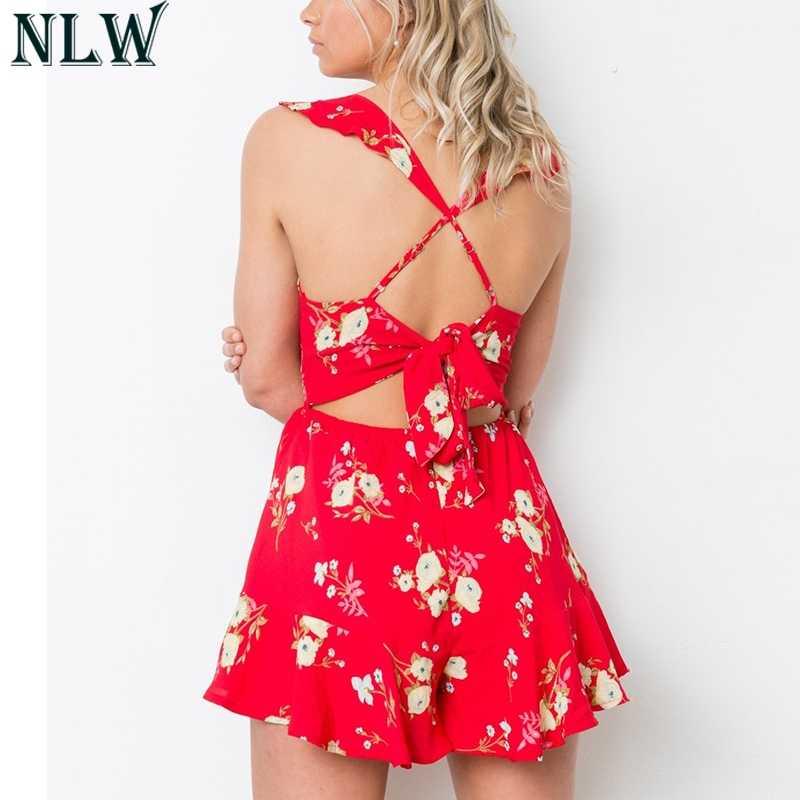 NLW красный комбинезон с цветочным принтом с оборками и v-образным вырезом, летний комбинезон с открытой спиной, с перекрестным узлом, с баской, комбинезон для женщин, шикарный комбинезон в стиле бохо