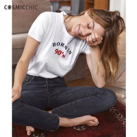 Cosmicchic Haute Couture Letter Print Women T Shirt Bron In 70 80 90 S Casual Cotton