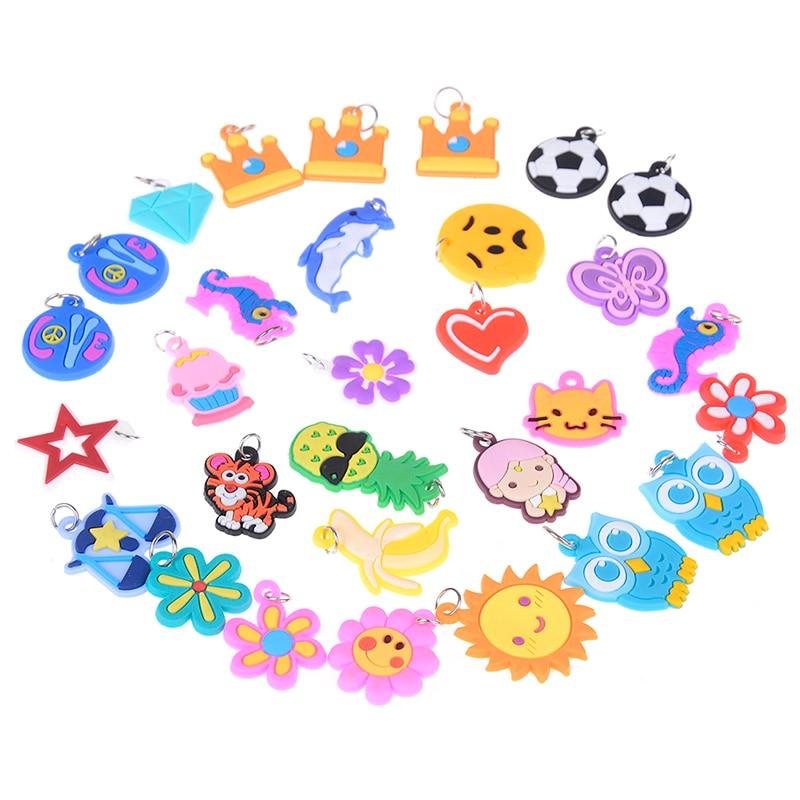 30pcs DIY Cartoon Colorful Animal Flower Beads Pendants Colorful Loom Rubber Band Bracelet Jewelry Making Beads Toy Random Style