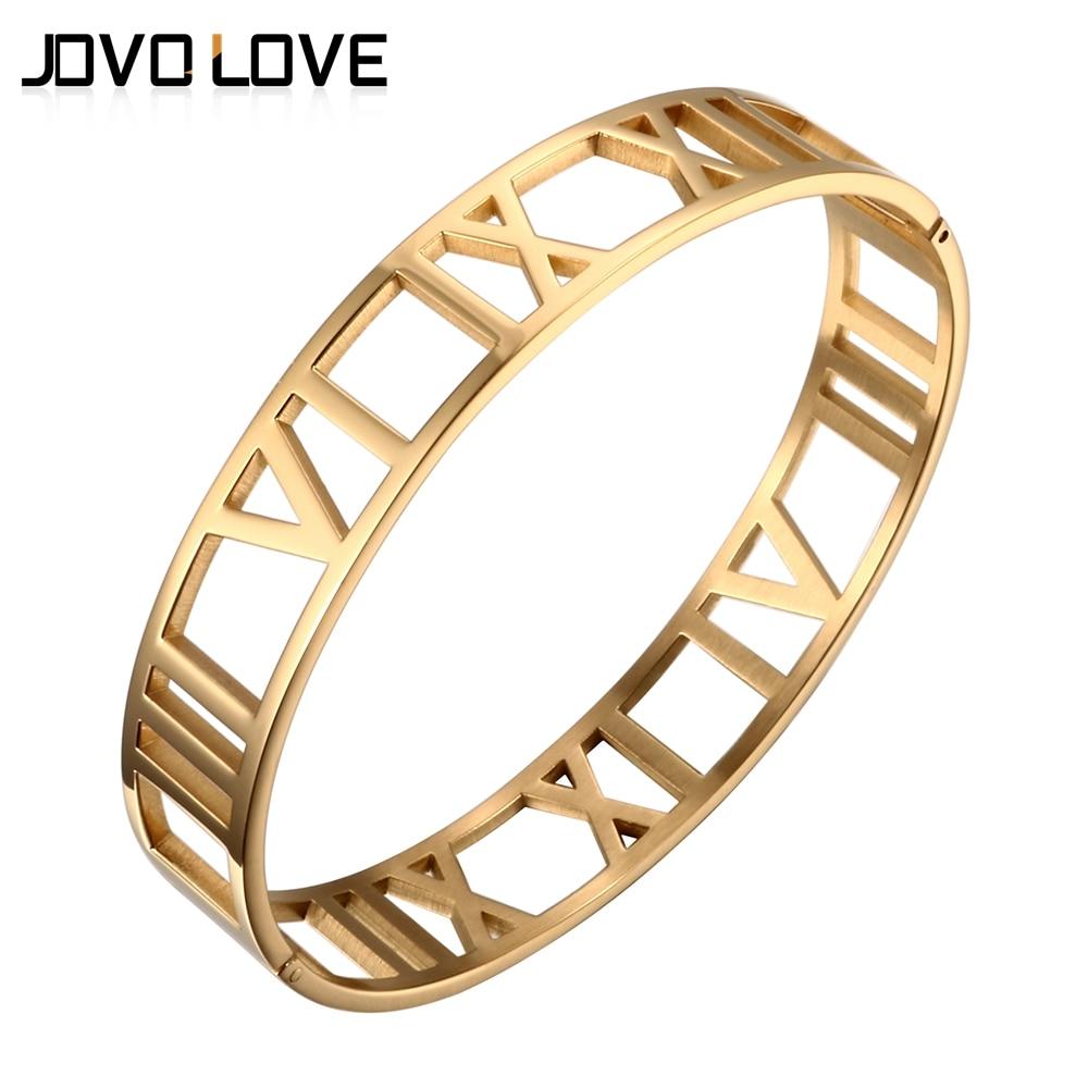 New Fashion 316L Stainless Steel Bracelets for Women Roman Number Design Wide Cuff Bracelets & Bangle Female Wedding Gift
