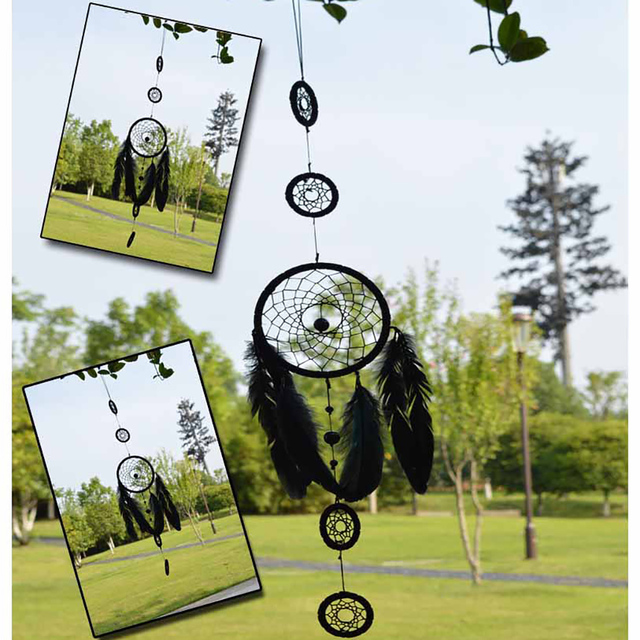 Dream Catcher Group Home Handmade Indian Black 40 Rings Dream Catcher Net With Long Feathers 9