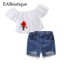 EABoutique kids summer fashion girls clothes rose printed Flat shoulder white tee with casual hole jeans shorts 2 piece set