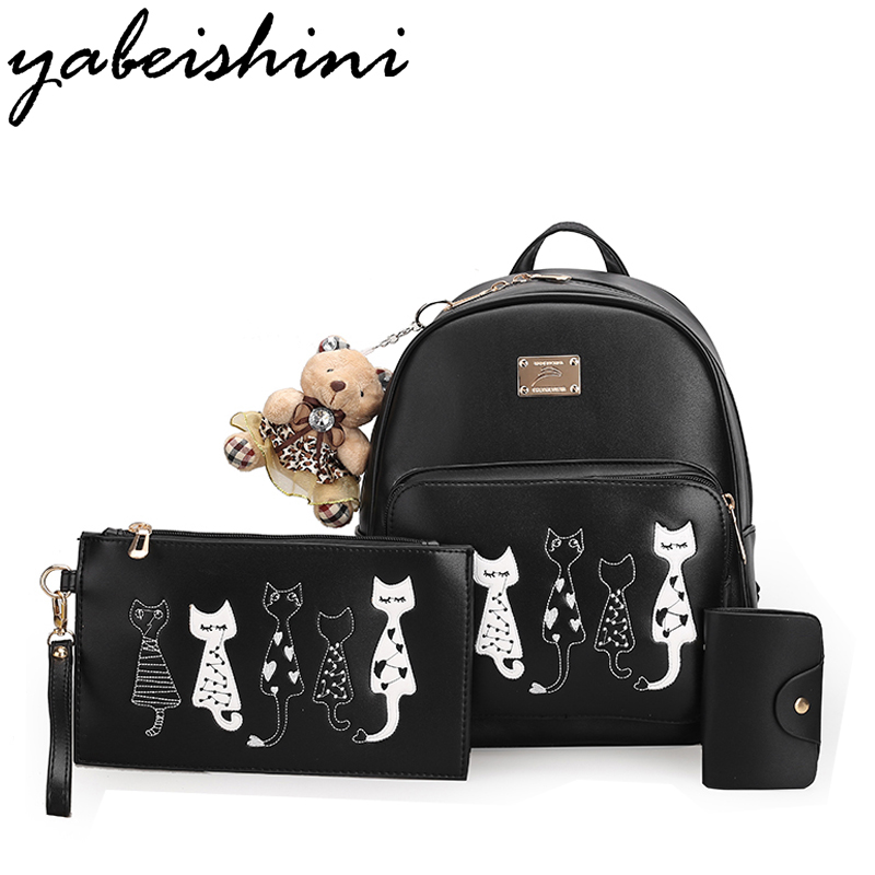 YUABEISHINI Five CAT Backpacks For Teenage Girls School Bags Softback Women Leather Backpack New 2017 Sac