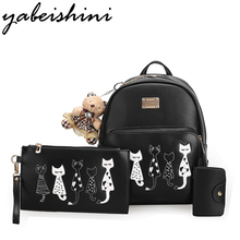 Yuabeishini пять Cat рюкзаки для девочек-подростков школьные сумки softback Женщины кожаный рюкзак Новый 2017 SAC DOS Mochilas YMHH-MZ