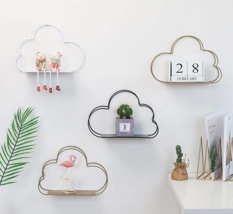 Nordic Style Creative Cloud Shape Decorative Shelf Potted Ornament Storage Holder Rack Shelves Wall Decoration Home Decor 1piece