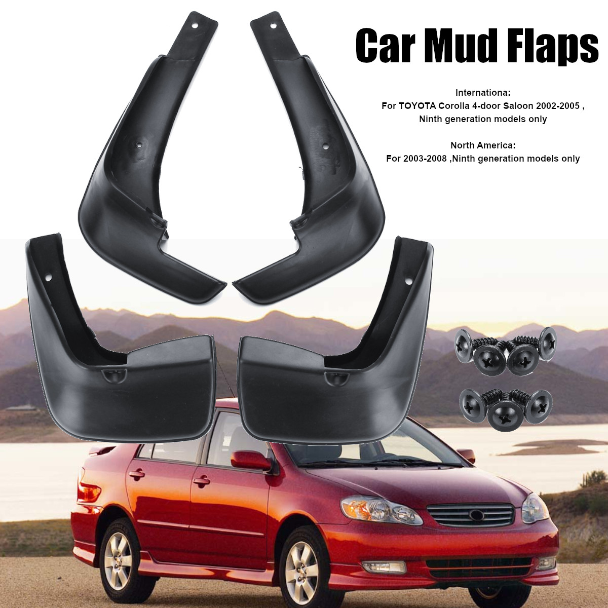 For 2009-2013 Toyota Corolla OE Front Rear 4PCS Fender Splash Mud Guards Flaps
