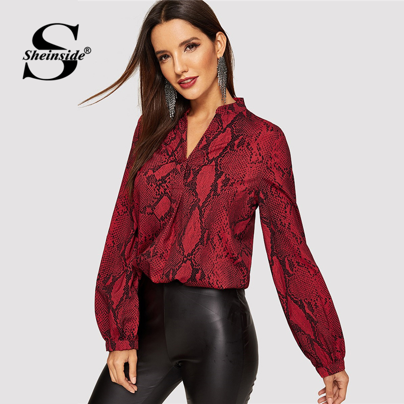 Sheinside Women Blouses Shirts Office Ladies V Neck Snake Print Blouse Office Lady Autumn Long Sleeve Shirt Womens Tops