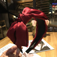 High quality women hairband Silk Chiffon big bow headband version of the wide-brimmed Non-slip for Lady Girl hair accessories