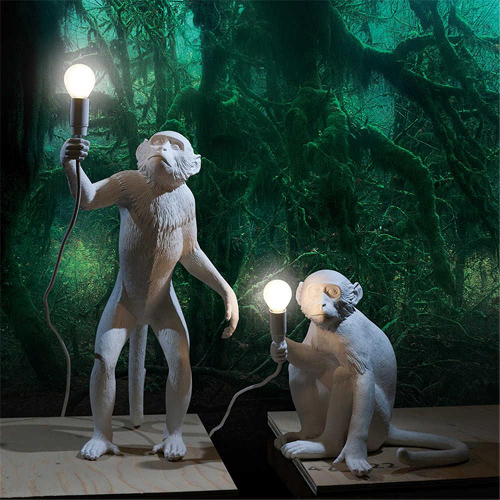 SELETTI Современная черная лампа в форме обезьяны пеньковая веревка Подвесные светильники Американская страна Смола Лофт промышленный подвесной светильник домашний декор