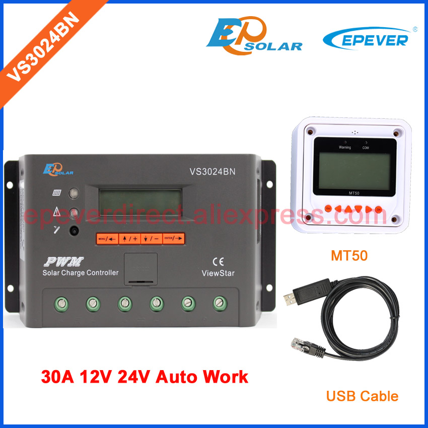 EP New series PWM regulator solar panel system Controller with USB cable and MT50 remote meter VS3024BN 30A 30amp vs3024bn new pwm controller network access computer control can connect with mt50 for communication